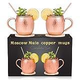 Royal Copper Moscow Mule Mugs Set of 2 - 100% Pure Copper 16Oz Premium Cups ...